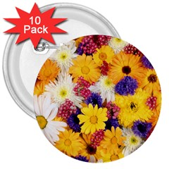 Colorful Flowers Pattern 3  Buttons (10 Pack)