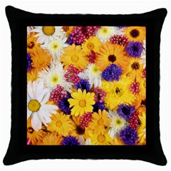 Colorful Flowers Pattern Throw Pillow Case (black) by BangZart