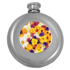 Colorful Flowers Pattern Round Hip Flask (5 Oz) by BangZart