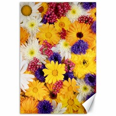 Colorful Flowers Pattern Canvas 12  X 18   by BangZart