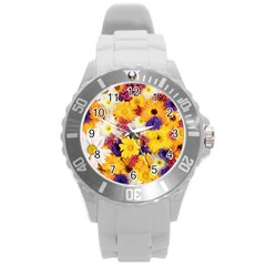 Colorful Flowers Pattern Round Plastic Sport Watch (l) by BangZart