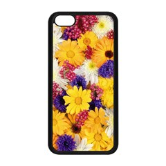 Colorful Flowers Pattern Apple Iphone 5c Seamless Case (black)