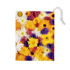 Colorful Flowers Pattern Drawstring Pouches (large)  by BangZart