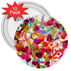 Abstract Colorful Heart 3  Buttons (10 Pack)