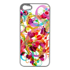 Abstract Colorful Heart Apple Iphone 5 Case (silver) by BangZart