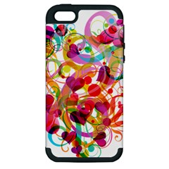 Abstract Colorful Heart Apple Iphone 5 Hardshell Case (pc+silicone) by BangZart