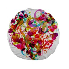 Abstract Colorful Heart Standard 15  Premium Flano Round Cushions by BangZart