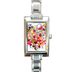 Abstract Colorful Heart Rectangle Italian Charm Watch