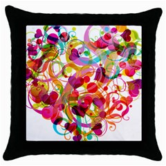 Abstract Colorful Heart Throw Pillow Case (black) by BangZart