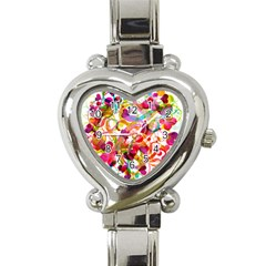 Abstract Colorful Heart Heart Italian Charm Watch by BangZart