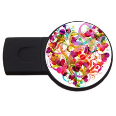 Abstract Colorful Heart Usb Flash Drive Round (4 Gb) by BangZart