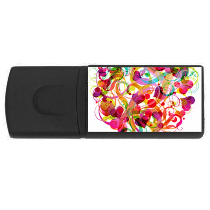 Abstract Colorful Heart Rectangular USB Flash Drive