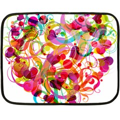 Abstract Colorful Heart Fleece Blanket (mini) by BangZart