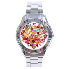 Abstract Colorful Heart Stainless Steel Analogue Watch by BangZart