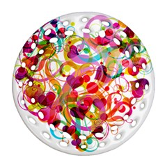 Abstract Colorful Heart Ornament (round Filigree) by BangZart