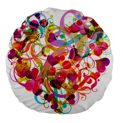Abstract Colorful Heart Large 18  Premium Flano Round Cushions by BangZart