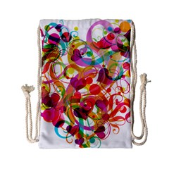 Abstract Colorful Heart Drawstring Bag (small) by BangZart