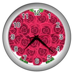 Floral Heart Wall Clocks (silver)  by BangZart
