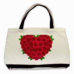 Floral Heart Basic Tote Bag by BangZart