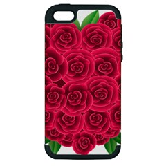 Floral Heart Apple Iphone 5 Hardshell Case (pc+silicone) by BangZart