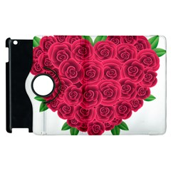 Floral Heart Apple Ipad 2 Flip 360 Case by BangZart