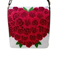 Floral Heart Flap Messenger Bag (l)