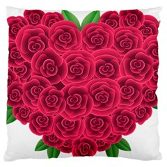 Floral Heart Large Flano Cushion Case (two Sides) by BangZart