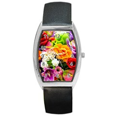 Colorful Flowers Barrel Style Metal Watch by BangZart