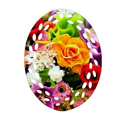 Colorful Flowers Ornament (oval Filigree)
