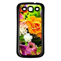 Colorful Flowers Samsung Galaxy S3 Back Case (black) by BangZart