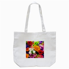 Colorful Flowers Tote Bag (white)