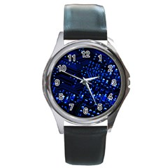 Blue Circuit Technology Image Round Metal Watch by BangZart