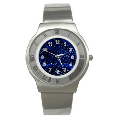 Blue Circuit Technology Image Stainless Steel Watch by BangZart