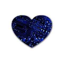 Blue Circuit Technology Image Heart Coaster (4 Pack)  by BangZart