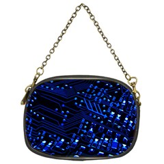 Blue Circuit Technology Image Chain Purses (one Side)  by BangZart