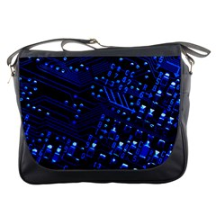 Blue Circuit Technology Image Messenger Bags