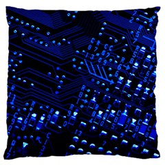 Blue Circuit Technology Image Standard Flano Cushion Case (one Side) by BangZart