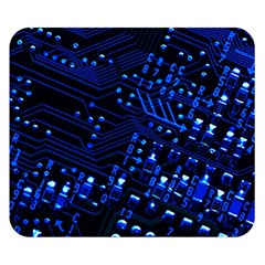 Blue Circuit Technology Image Double Sided Flano Blanket (small)  by BangZart