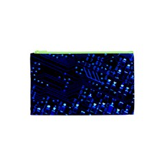 Blue Circuit Technology Image Cosmetic Bag (xs) by BangZart