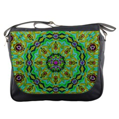 Golden Star Mandala In Fantasy Cartoon Style Messenger Bags by pepitasart