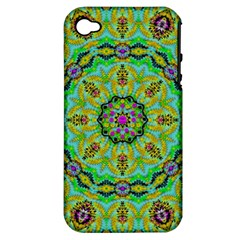 Golden Star Mandala In Fantasy Cartoon Style Apple Iphone 4/4s Hardshell Case (pc+silicone) by pepitasart