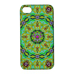 Golden Star Mandala In Fantasy Cartoon Style Apple Iphone 4/4s Hardshell Case With Stand by pepitasart
