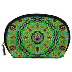 Golden Star Mandala In Fantasy Cartoon Style Accessory Pouches (large)  by pepitasart