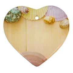 Sea Shell Pattern Heart Ornament (two Sides) by paulaoliveiradesign