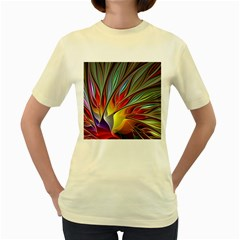 Fractal Bird Of Paradise Women s Yellow T Shirt by WolfepawFractals