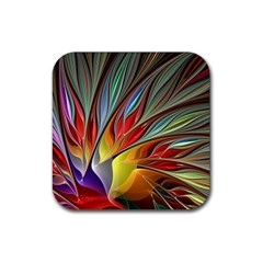 Fractal Bird Of Paradise Rubber Square Coaster (4 Pack)  by WolfepawFractals