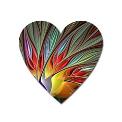Fractal Bird Of Paradise Heart Magnet by WolfepawFractals