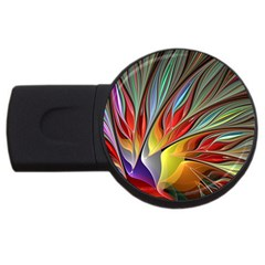 Fractal Bird Of Paradise Usb Flash Drive Round (4 Gb)