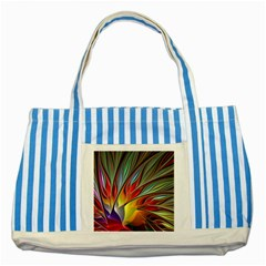 Fractal Bird Of Paradise Striped Blue Tote Bag