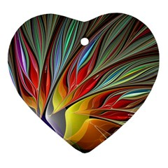 Fractal Bird Of Paradise Heart Ornament (two Sides)